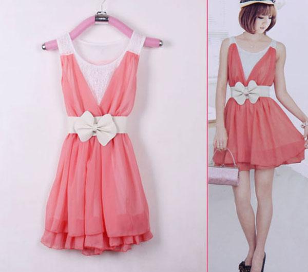 New Korean Women Round Neck Sleeveless Princess Chiffon Mini Dress 5 Colors 2014