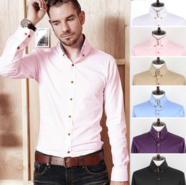 New-Mens-Luxury-Casual-Slim-Fit-Stylish-Dress-Shirts-6-Colors-MCH0878