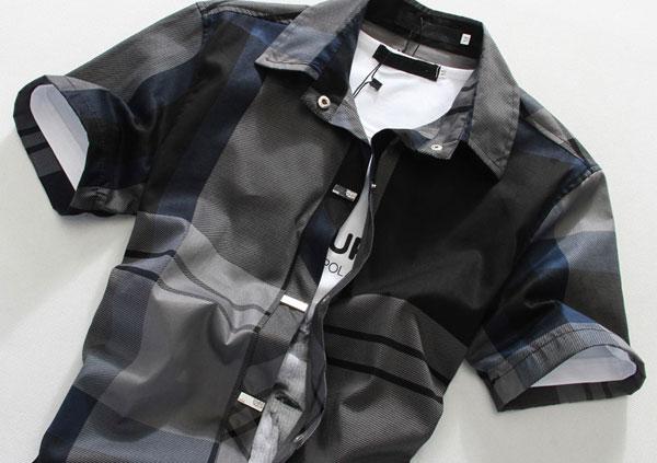 New Mens Grid Style Fashion Short Sleeve Shirt 2 Colors 4 Sizes