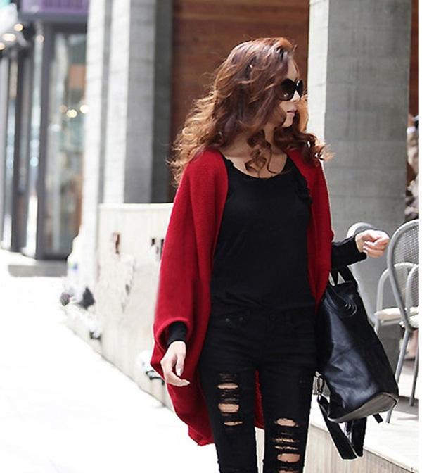 модная свитер с рукавами-bat в стиле корейском красный.