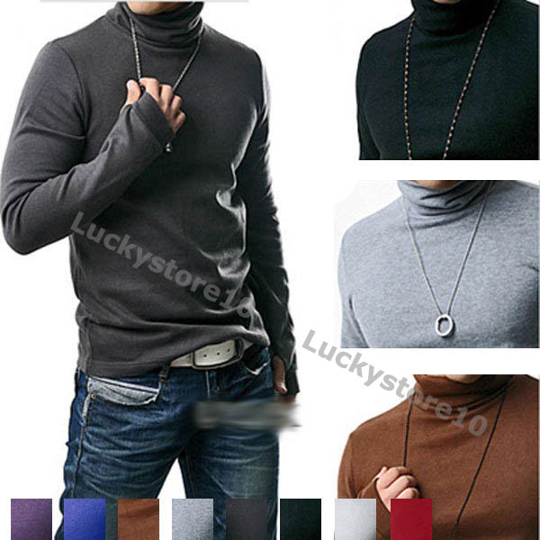 Men-s-Muscle-Turtle-Neck-Basic-Tee-Tops-Long-Sleeve-T-Shirt-Sweaters-M1677