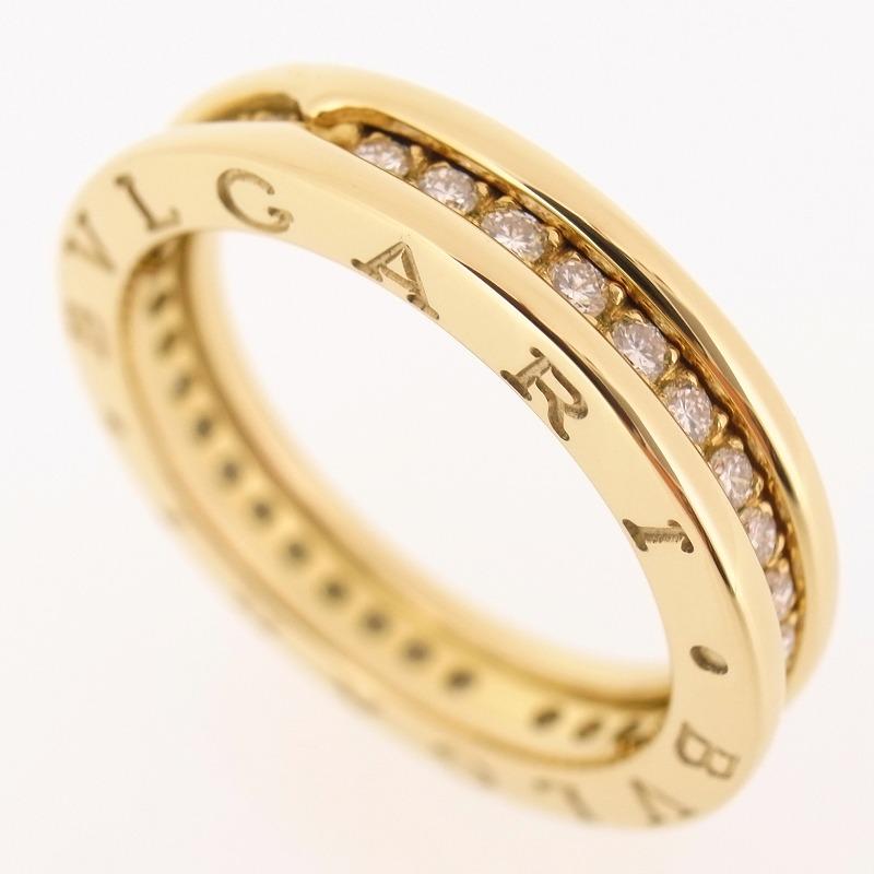 bvlgari 18k yellow gold b zero 1 pave diamonds ring with