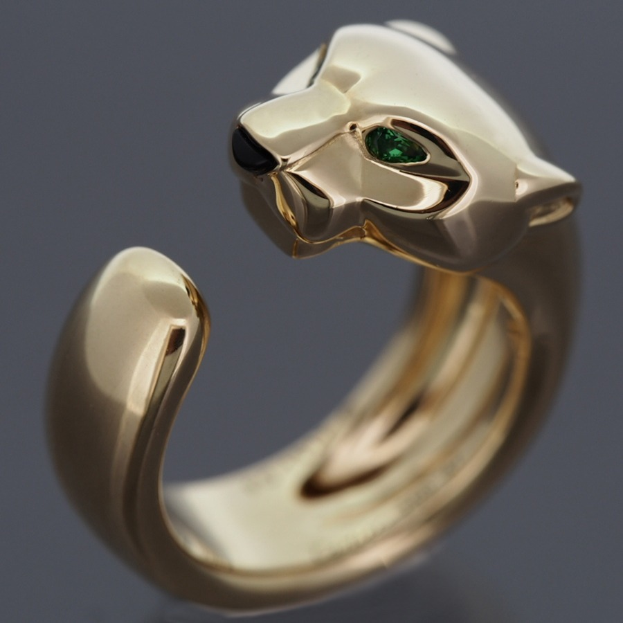 cartier 18k yellow gold panther massai ring with tsavorite