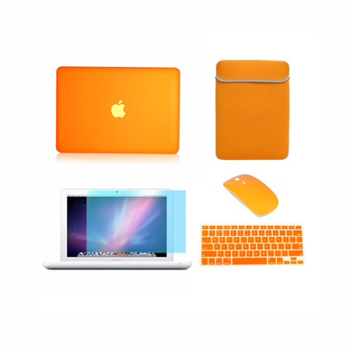 5in1-Rubberized-ORANGE-Case-for-Macbook-White-13-Keyboard-Cover-LCD-Bag-Mouse