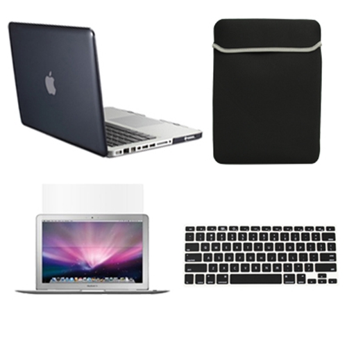 """4 in1 BLACK Crystal Case for Macbook Pro 13"""" A1425 Retina + Key Cover+LCD+BAG"""