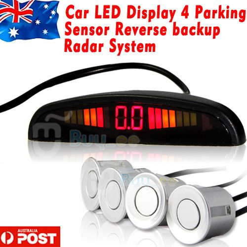 Car-LED-Display-4-Parking-Sensor-Reverse-backup-Radar-System-Silver-AU