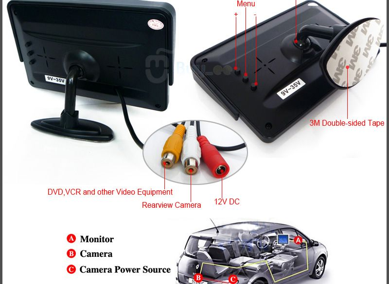 Buyee Car Rear View Kit   Tft Lcd