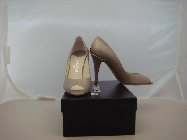 NIB-AUTH-Chanel-Beige-Leather-Peep-Toe-Pump-Shoe-39