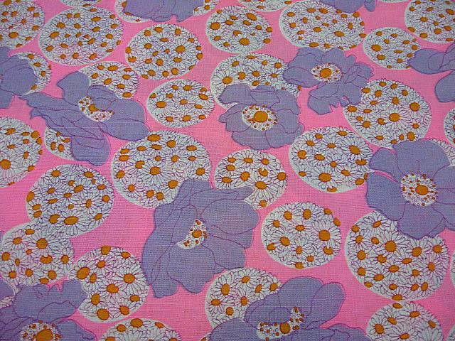 Vintage 1970's Fabric HOT PINK LAVENDER ORANGE DAISY POLKA DOT FLORAL ...