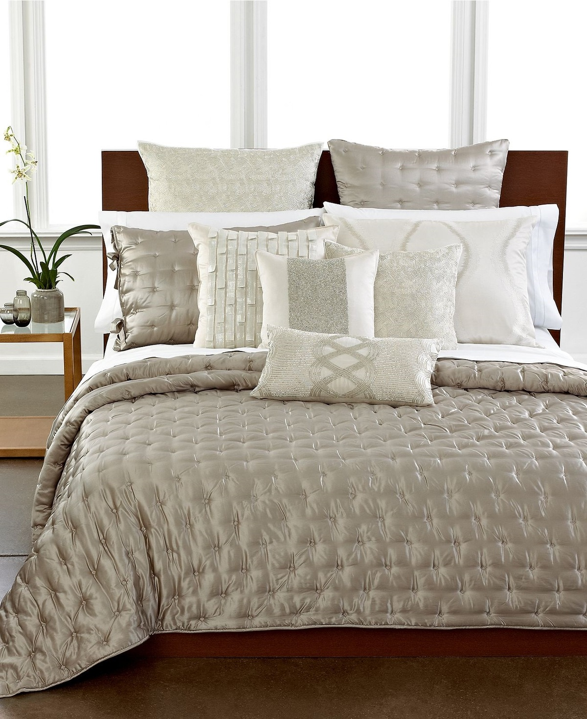 Hotel collection finest luster silk cotton king quilted for Luxury hotel 750 collection sheets