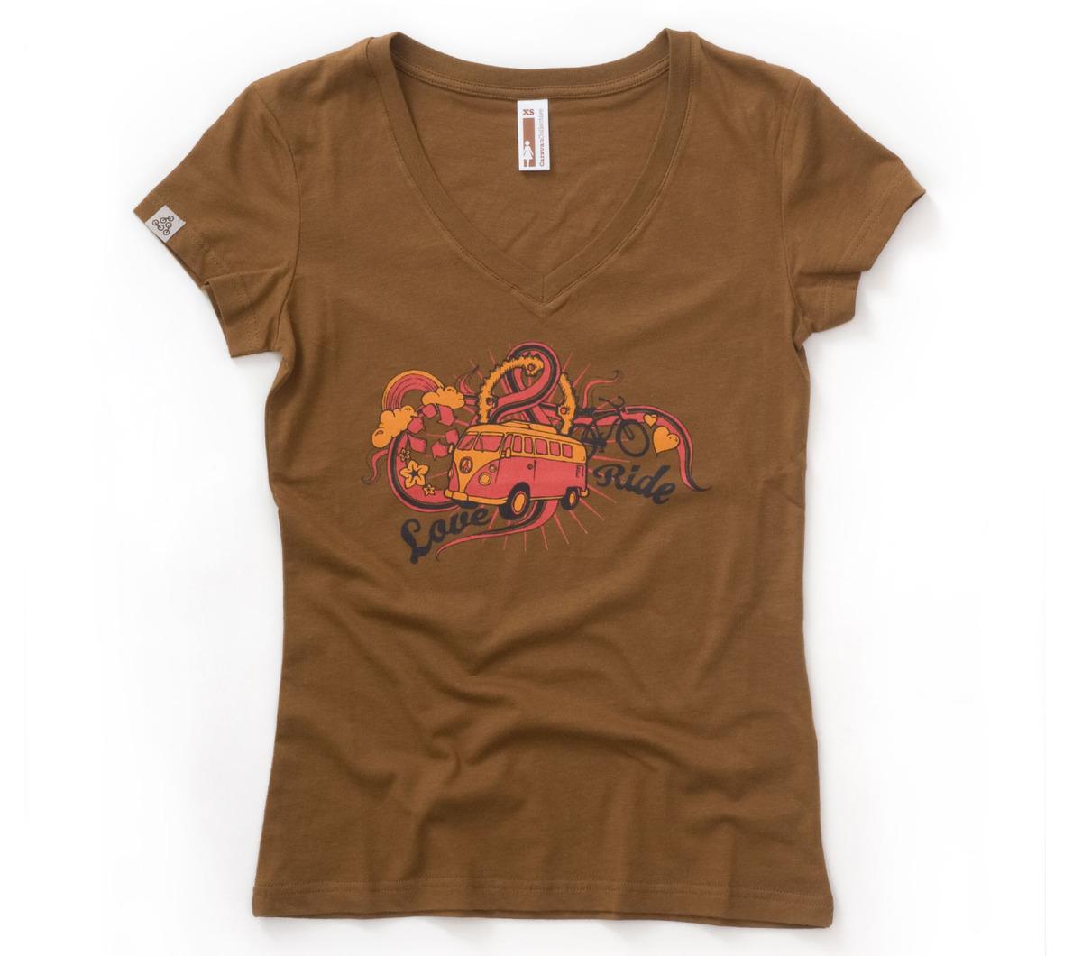 new women 100 organic cotton t shirt brown v neck graphic girls tee size xs xxl ebay. Black Bedroom Furniture Sets. Home Design Ideas