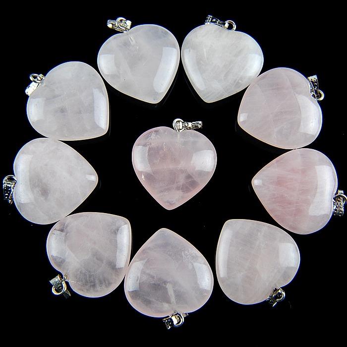 Wholesale 10pcs Mixed Gemstone Heart Pendant Bead Please Pick Stone! A-XX1