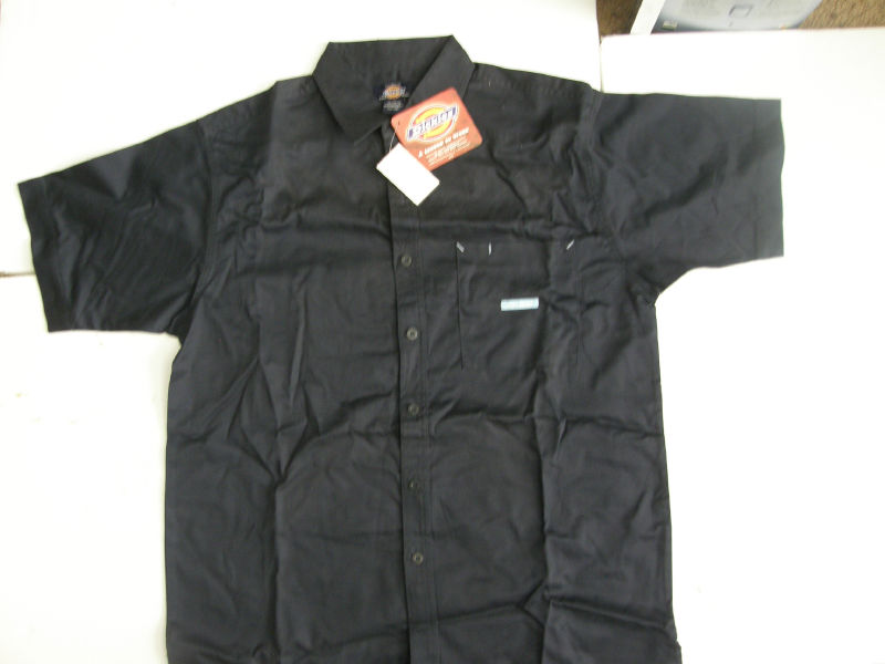 Dickies mens shirt short sleeve work uniform blue collar for Blue button up work shirt