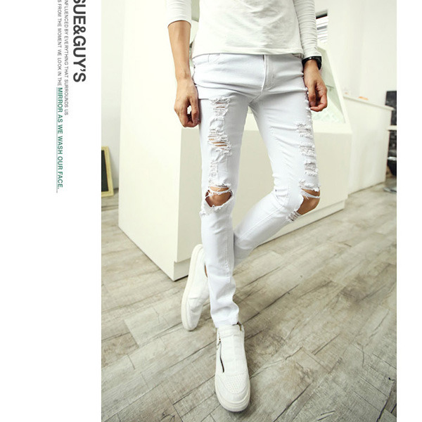 Cool Men&amp039s Trendy Ripped Destroyed Mod Sexy Skinny Fit Jeans