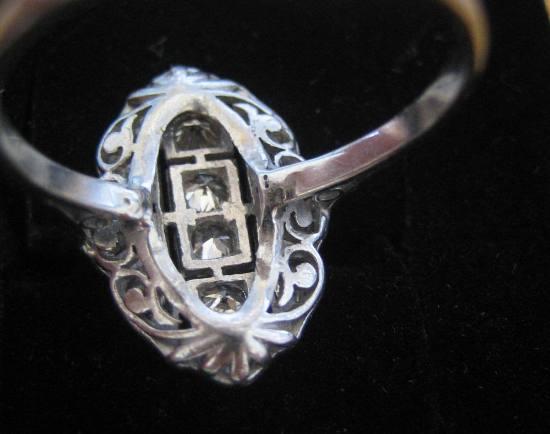 Antique French 18k White Gold Diamond Ring