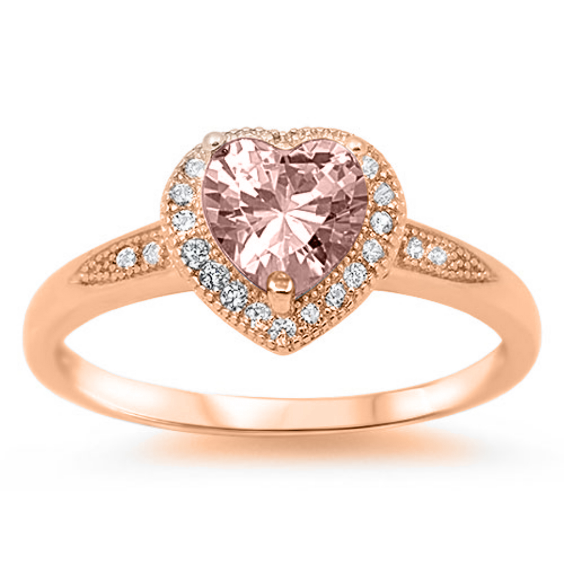 Halo Heart Pink Morganite Round White Cz Rose Gold 925 Sterling Silver  Promise