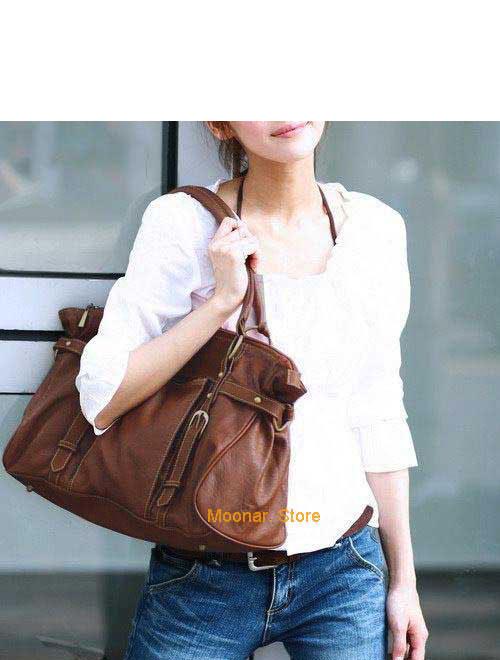 Кожаная сумка коричневого цвета - DonnaModa.Ru.