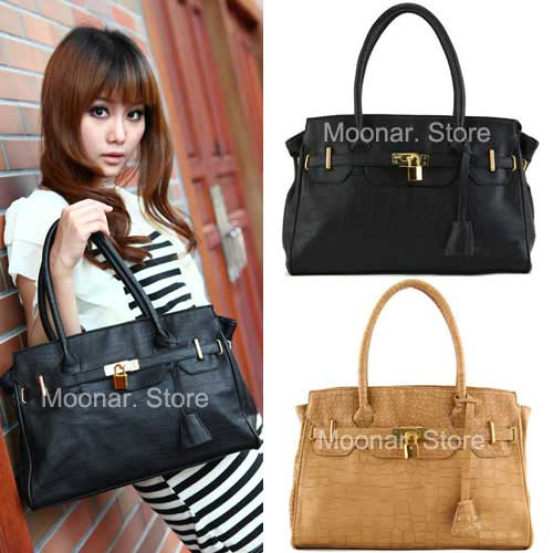New-Elegant-Lady-CROCO-PU-Leather-Women-Tote-Handbag-Shoulder-Purse-Bag-B065