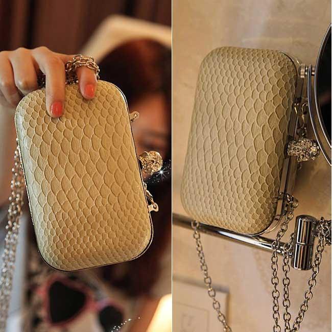 2012-NEW-Vintage-Skull-Snakeskin-Pattern-Women-Clutch-Purse-Handbag-Evening-Bag