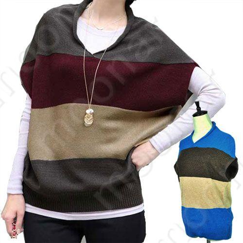Women-V-neck-Wide-Stripe-Batwing-Sleeve-Blouse-Shoulder-Stripe-Sweater-Top-Shirt