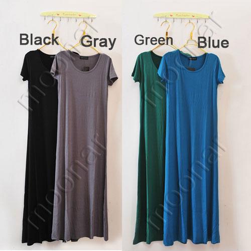 Plain solid women 39 s long maxi strench a line dress short for Long line short sleeve t shirt