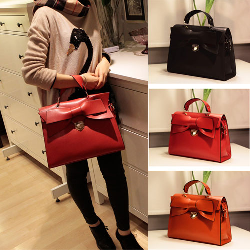 Fashion-Elegant-OL-Lady-Women-Bow-Handbag-Purse-Totes-Satchel-Moonar-B266