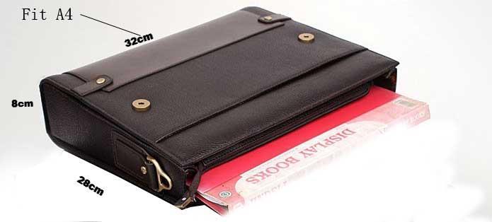 Authentic Moonar Men'S Leather Shoulder Messenger Briefcase Bag Bookbag 3