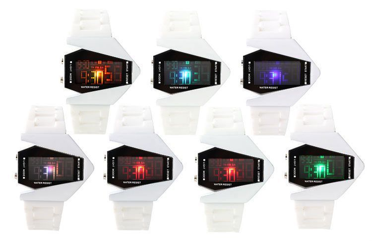 Changing Color LED Digital Date Alarm White Silicone Men Sport Wrist