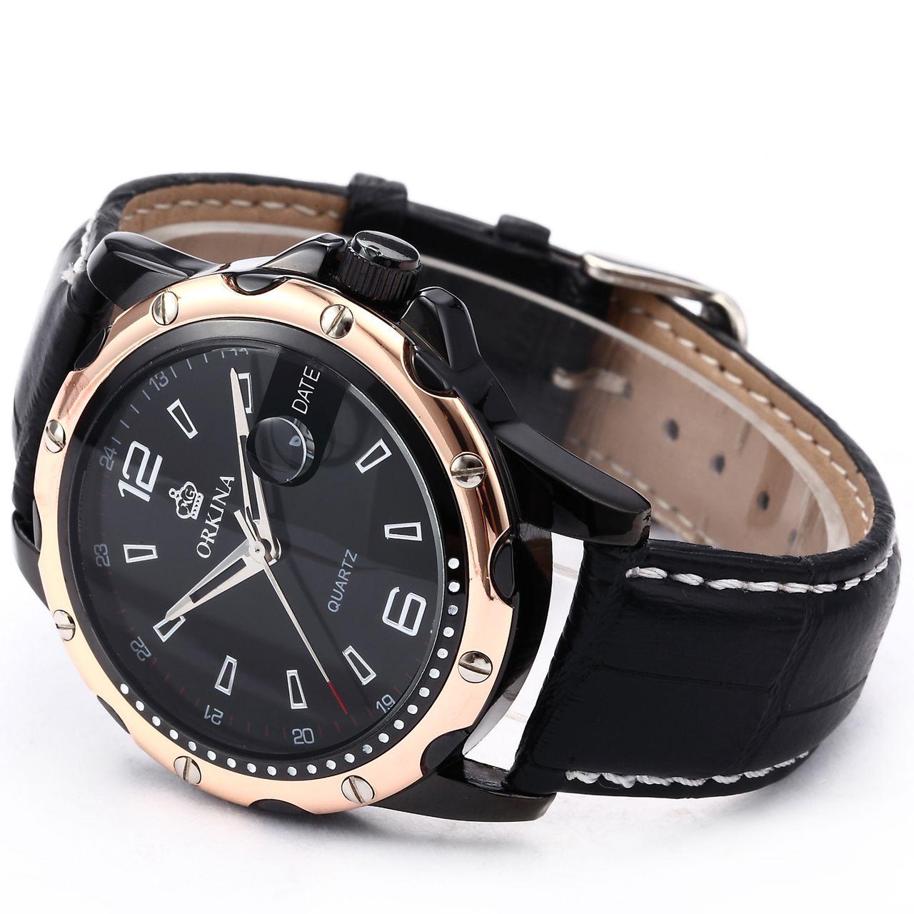 ORKINA Luxury Date Calendar Display Leather Men Wrist Quartz Sport Watch