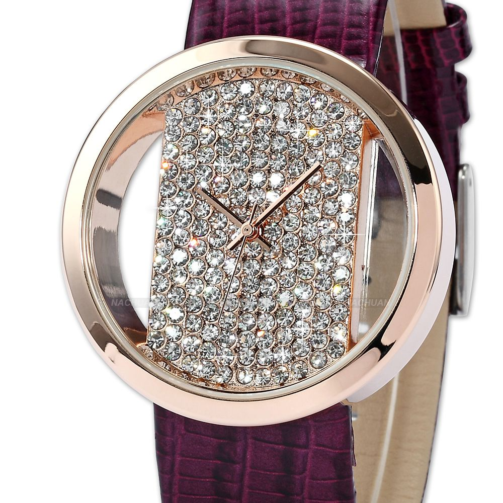 Lady Women Rose Gold Case Crystal Transparent Dial Quartz Wrist Watch