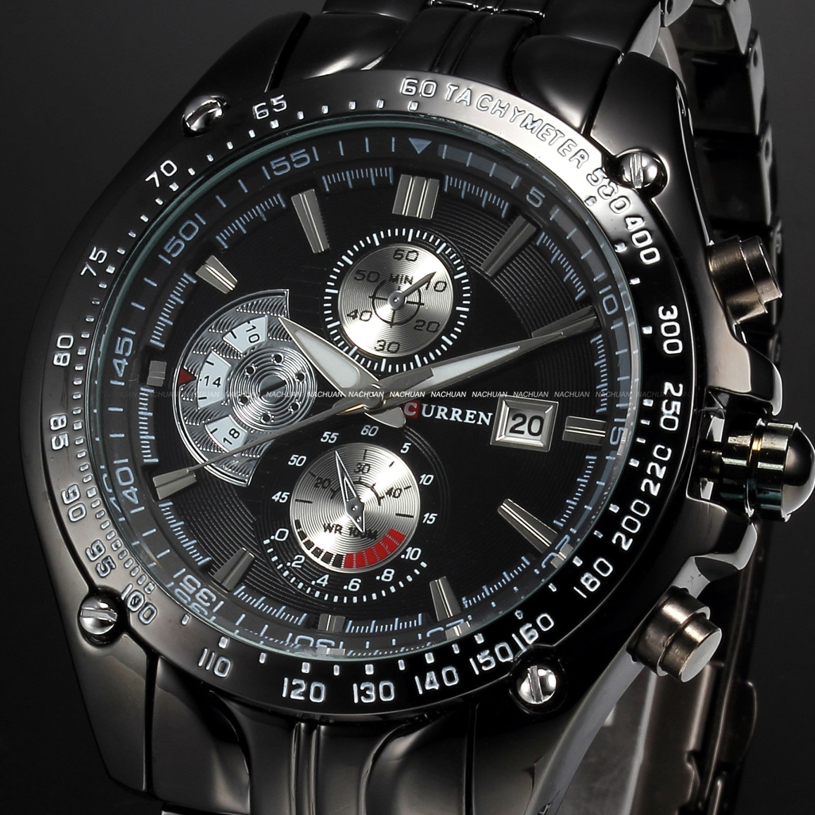 New-Luxury-Sport-Mens-Stainless-Steel-Date-Quartz-Analog-Black-Dial-Wrist-Watch