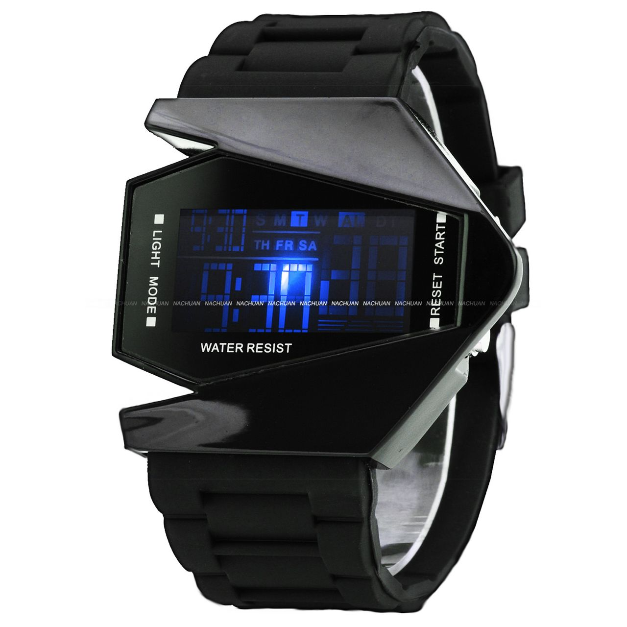 New-Sport-Multicolor-LED-Digital-Date-Alarm-Lady-Mens-Black-Silicone-Wrist-Watch