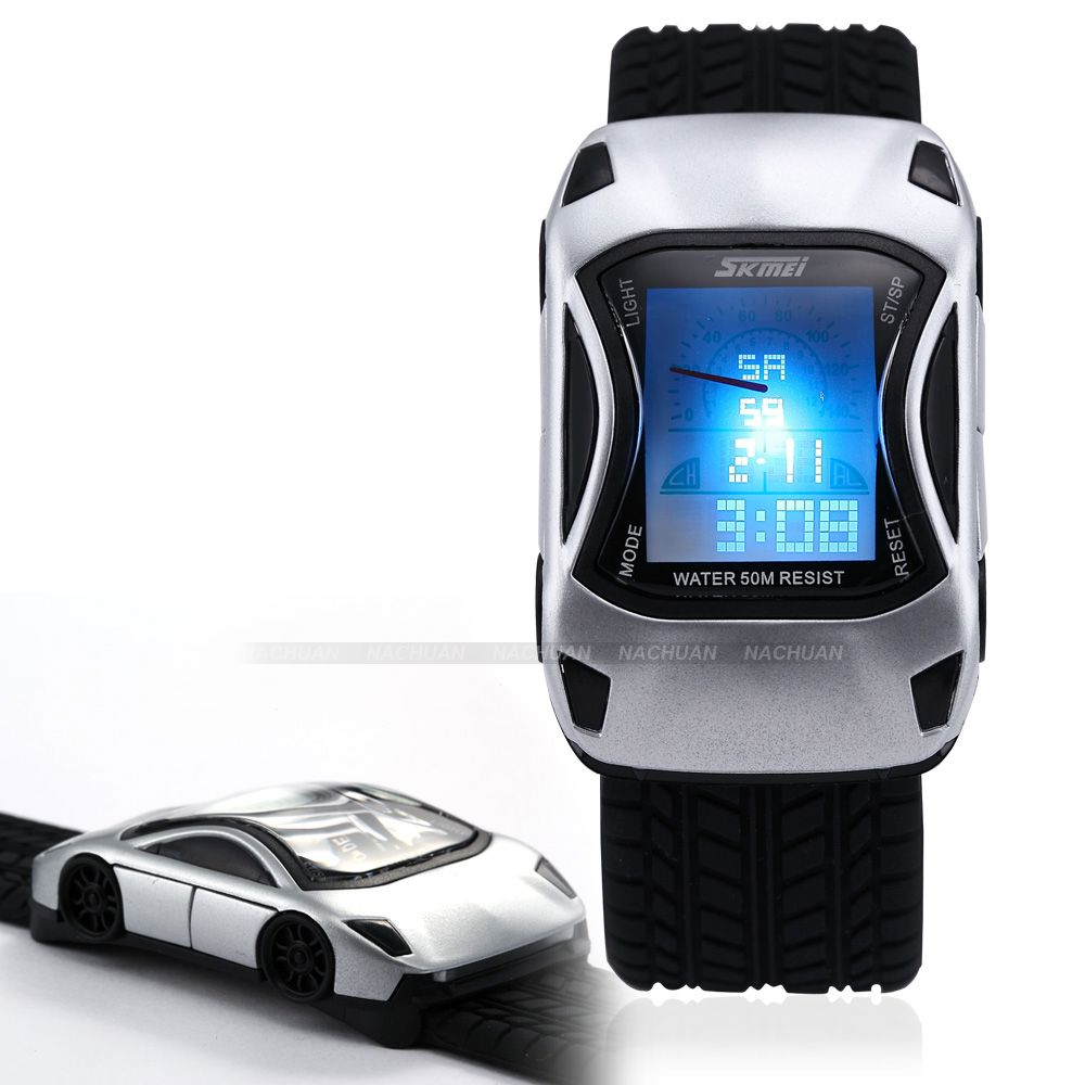New-Silver-Car-LED-Backlight-Alarm-Silicone-Men-Boy-Child-Stopwatch-Sport-Watch
