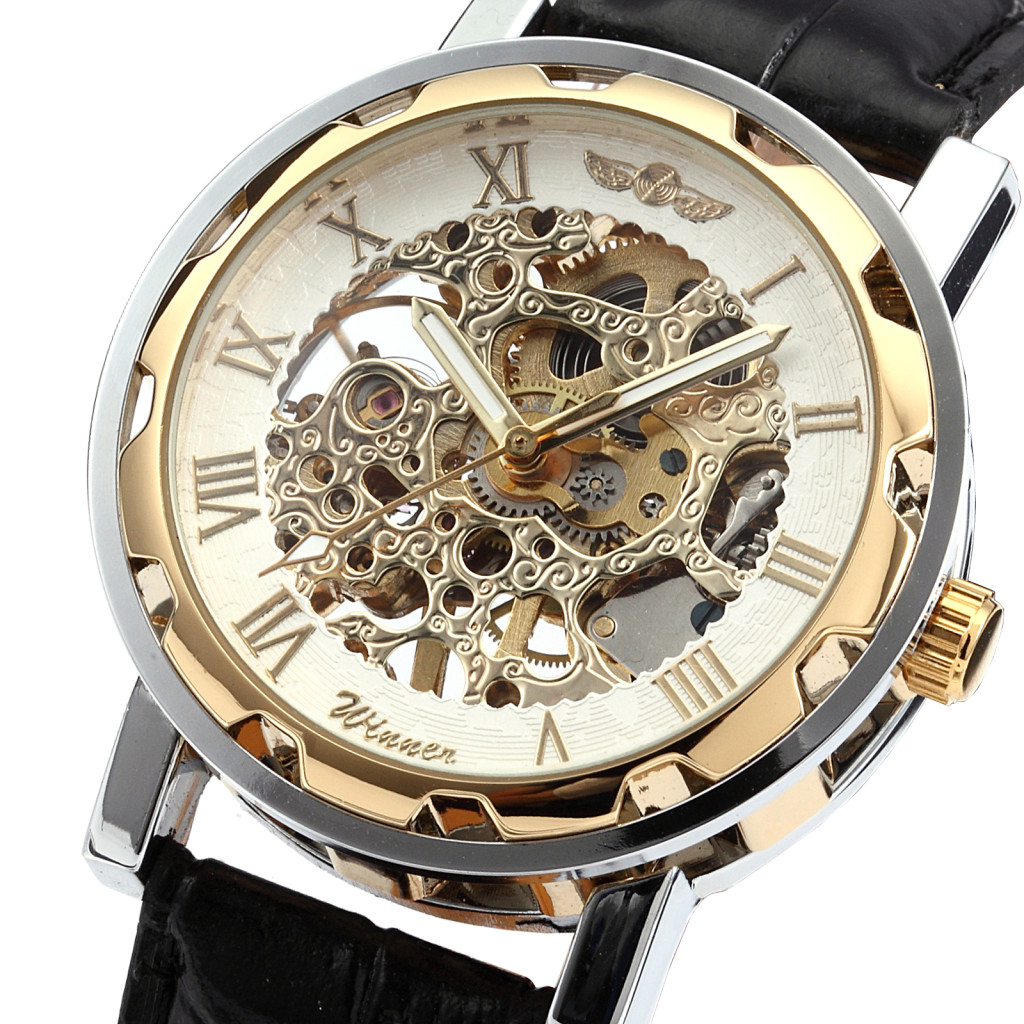 Luxury-Gold-Silver-Hand-wind-Skeleton-Mechanical-Black-Leather-Mens-Wrist-Watch