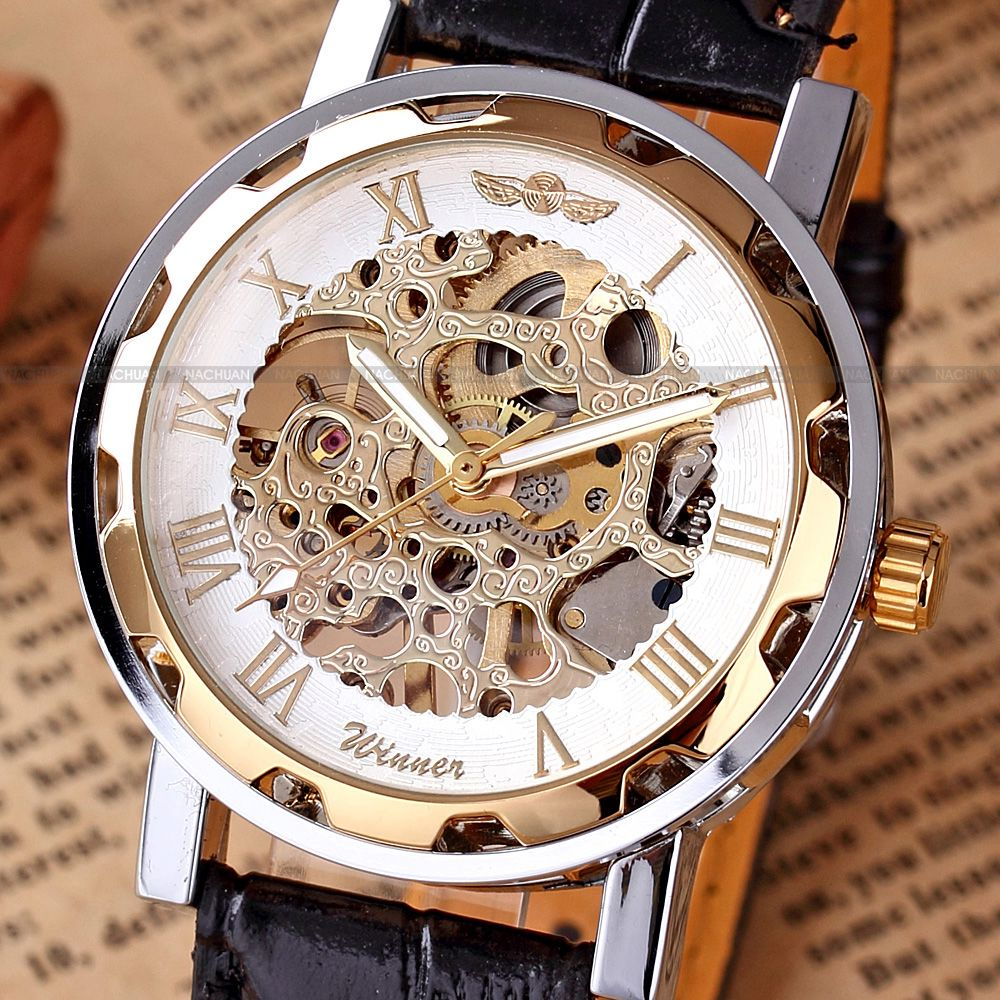 Luxury-Gold-Tone-Hand-winding-Skeleton-Mechanical-Black-Leather-Mens-Wrist-Watch