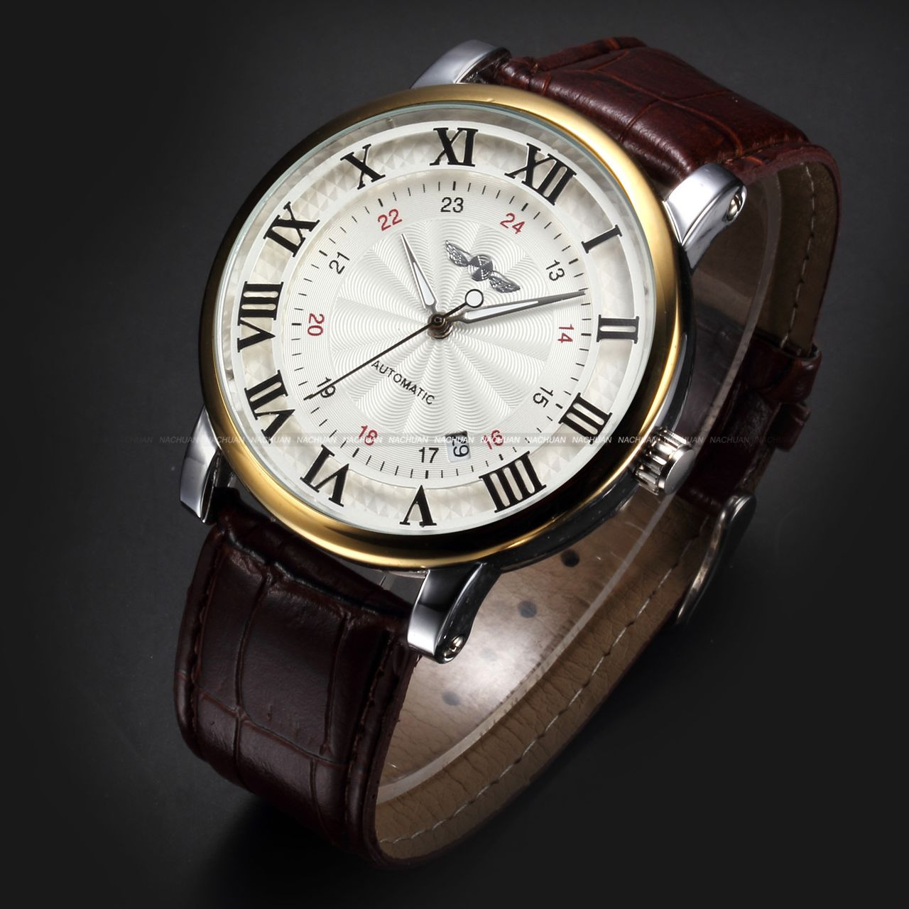 Classic-Mens-Automatic-Mechanical-Brown-Leather-Date-Sport-Analog-Wrist-Watch