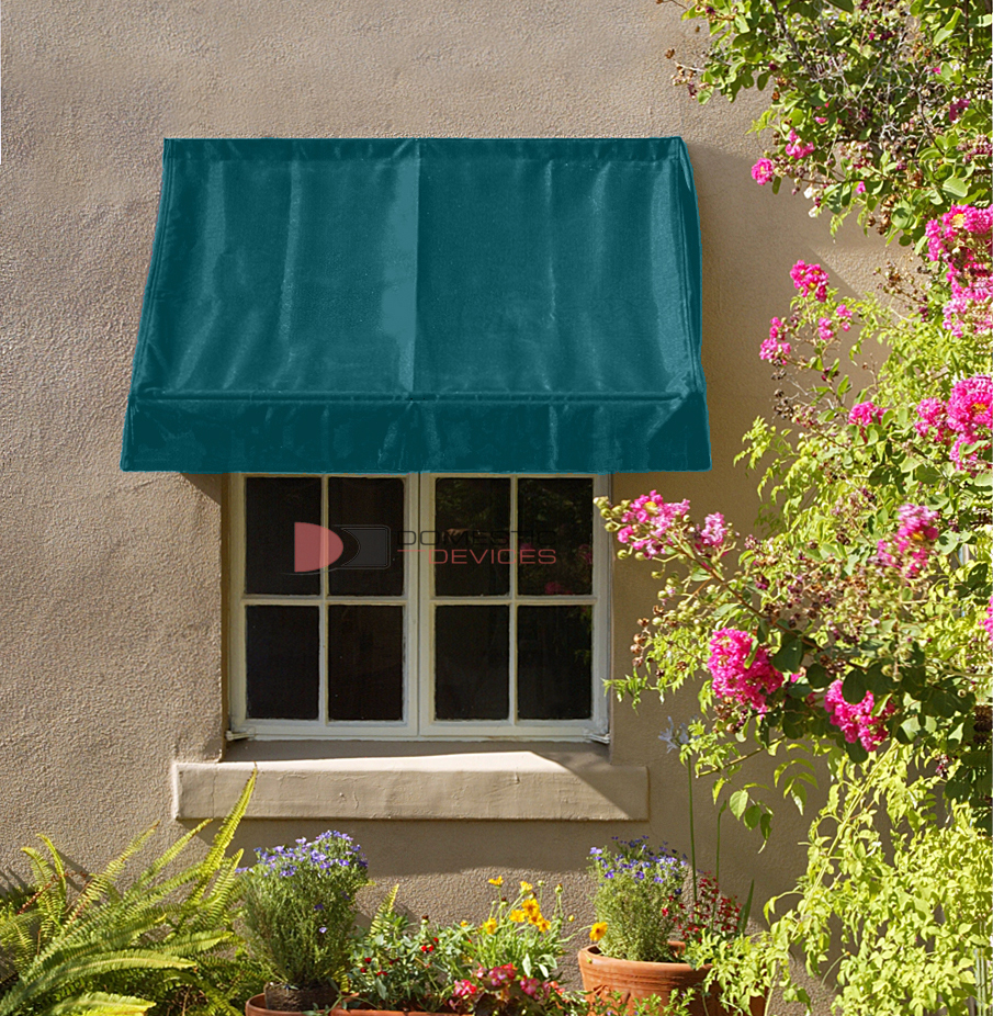 6 Classic Retractable Window Awning Green Fabric Awnings