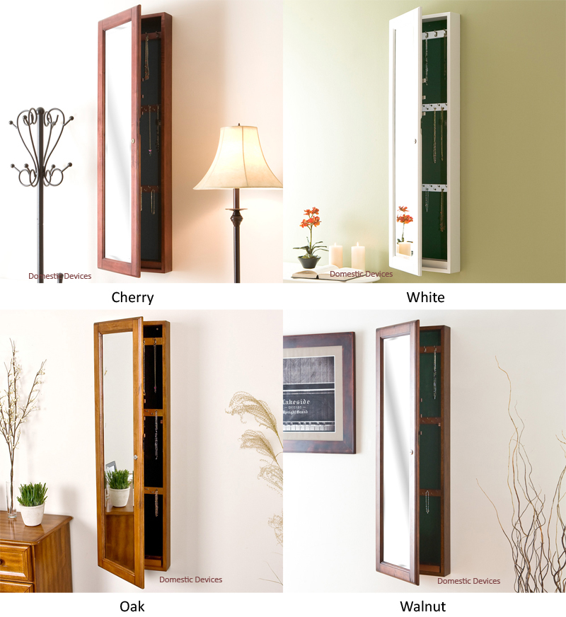 With Full Length Wall Mirror Storage : ... Wall Mounted Locking JewelryCabinet with Full Length Beveled Mirror