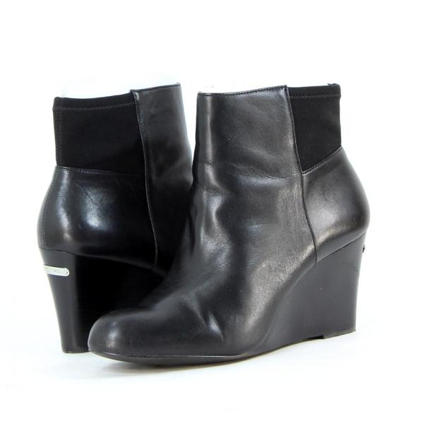 Michael-Kors-Womens-Shoes-Black-Bromley-Wedges-Booties-Heels-Leather