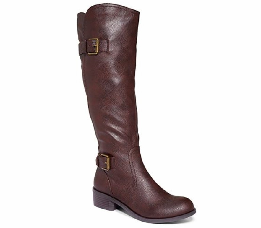 Style&Co Shoes Derby Derbey Brown Tall Riding Boots Wide Calf ...