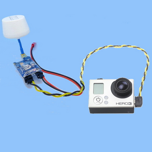 fpv aerial camera gopro a v radio transmitter receiver rf 5 8ghz note the following pictures are for the av cable schematic diagram to instruct the gopro 2 and gopro 3 use the different av cable the white antenna do