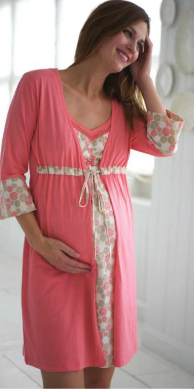 New-BELABUMBUM-Maternity-Nursing-DELIA-ROBE-Pajamas-Lounge-Wear-Floral-Print