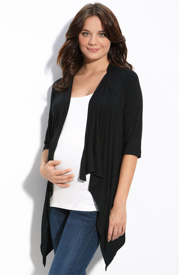 New-JAPANESE-WEEKEND-MATERNITY-1-Piece-NURSING-CARDIGAN-SHELL-Black-White-Top