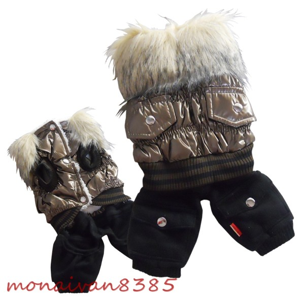 Fleece Snow Suits for Dogs http://www.ebay.com/itm/Bronze-Dog-Coat-Removable-Pants-Fleece-Snowsuit-Faux-Fur-Dog-Clothes-Pet-Apparel-/221147003761