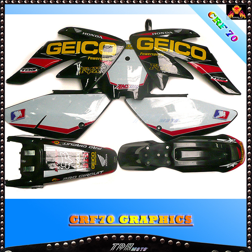 crf70 black plastics geico graphics seat pit bike 140 150 160 200 cc atomik ebay. Black Bedroom Furniture Sets. Home Design Ideas