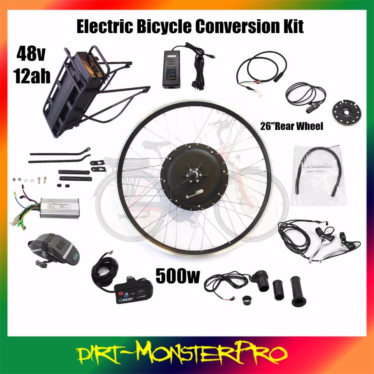 Electric Motor Kits For Push Bikes: DIY Ebike Electric Bike Kit 12ah Li-ion Battery Included