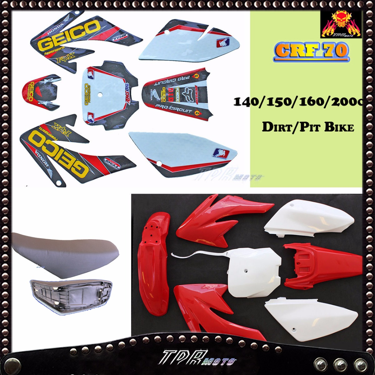 crf70 geico graphics background seat red wht plastic dirt bike pitpro atomik ebay. Black Bedroom Furniture Sets. Home Design Ideas