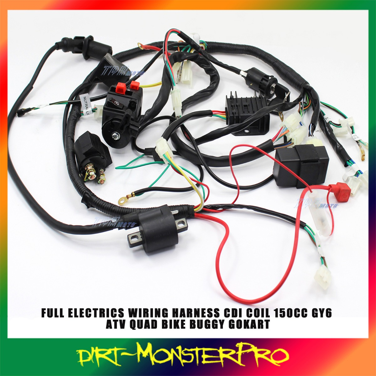 TD356 DIRT buggy wiring harness loom gy6 150cc chinese electric start kandi gy6 go kart wiring harness at gsmx.co
