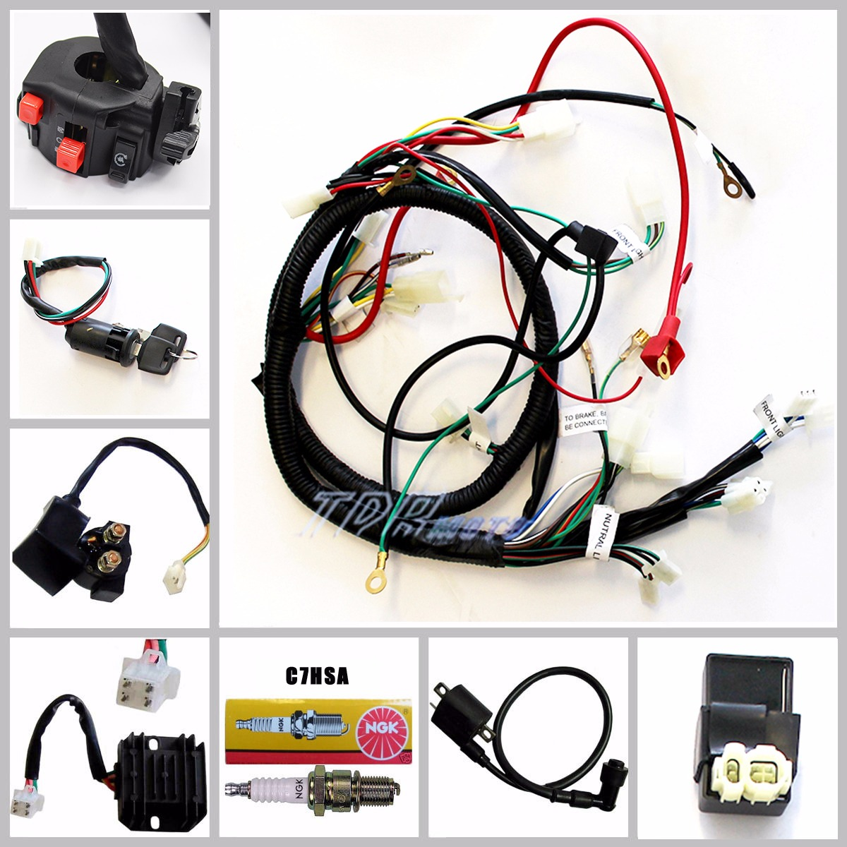 TD356 tdr_(2) buggy wiring harness loom gy6 150cc chinese electric start kandi gy6 go kart wiring harness at gsmx.co