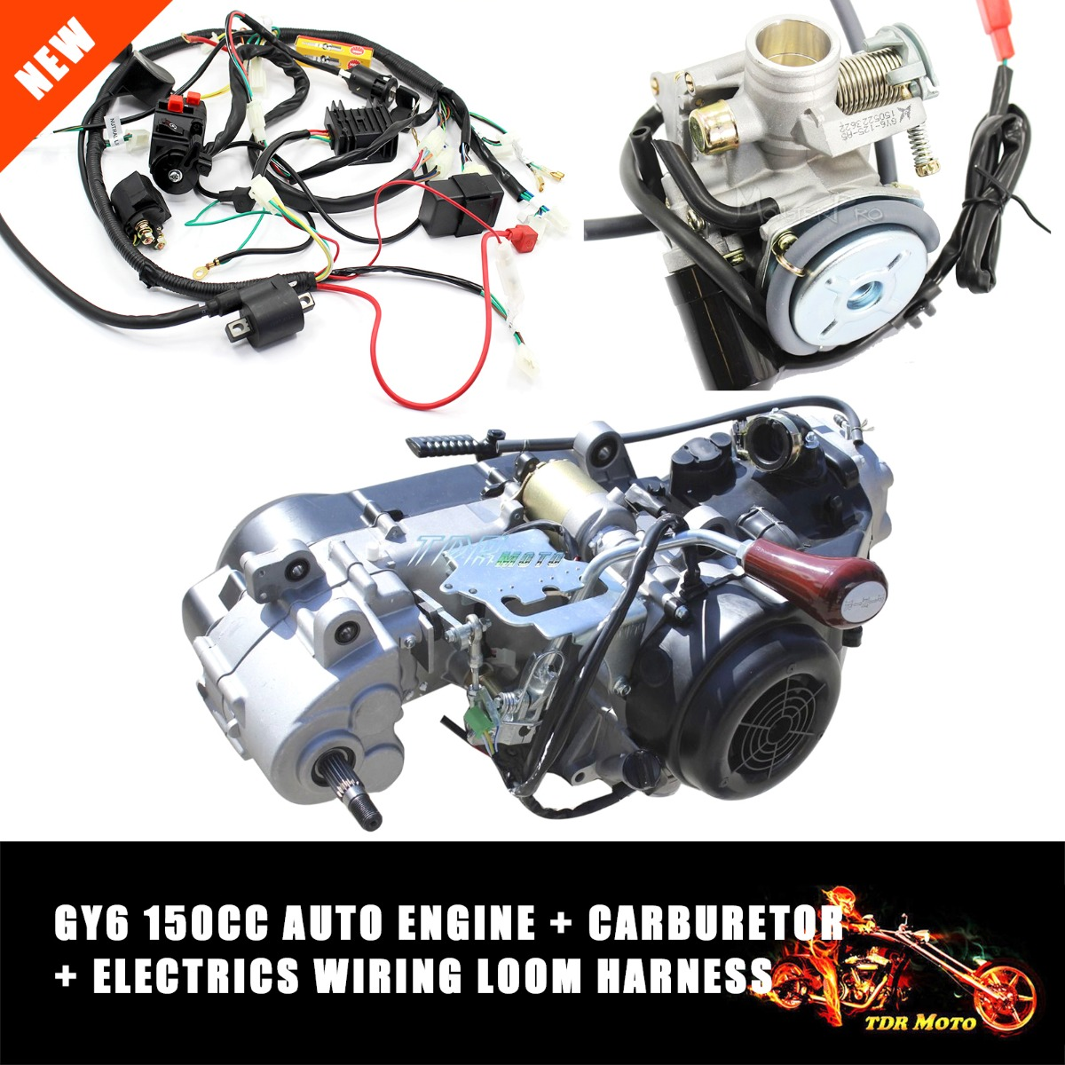 gy6 150cc fully auto reverse gear engine wiring loom harness gy6 150cc fully auto reverse gear engine wiring loom harness carburetor